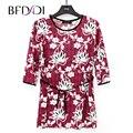 Bfdadi 2017 mulheres primavera outono encabeça 3/4 manga comprida o pescoço da senhora t-shirt flores imprimiram a camisa das mulheres casual clothing tamanho grande 9208