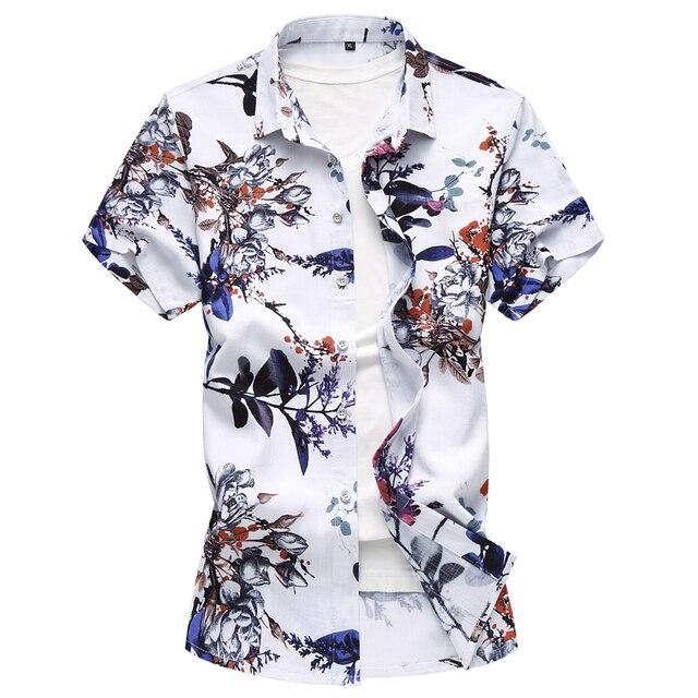 5c0f6017658d834 Лето Большой размер Для мужчин рубашка мужской цветочным узором хлопка и льна  футболка с коротким рукавом