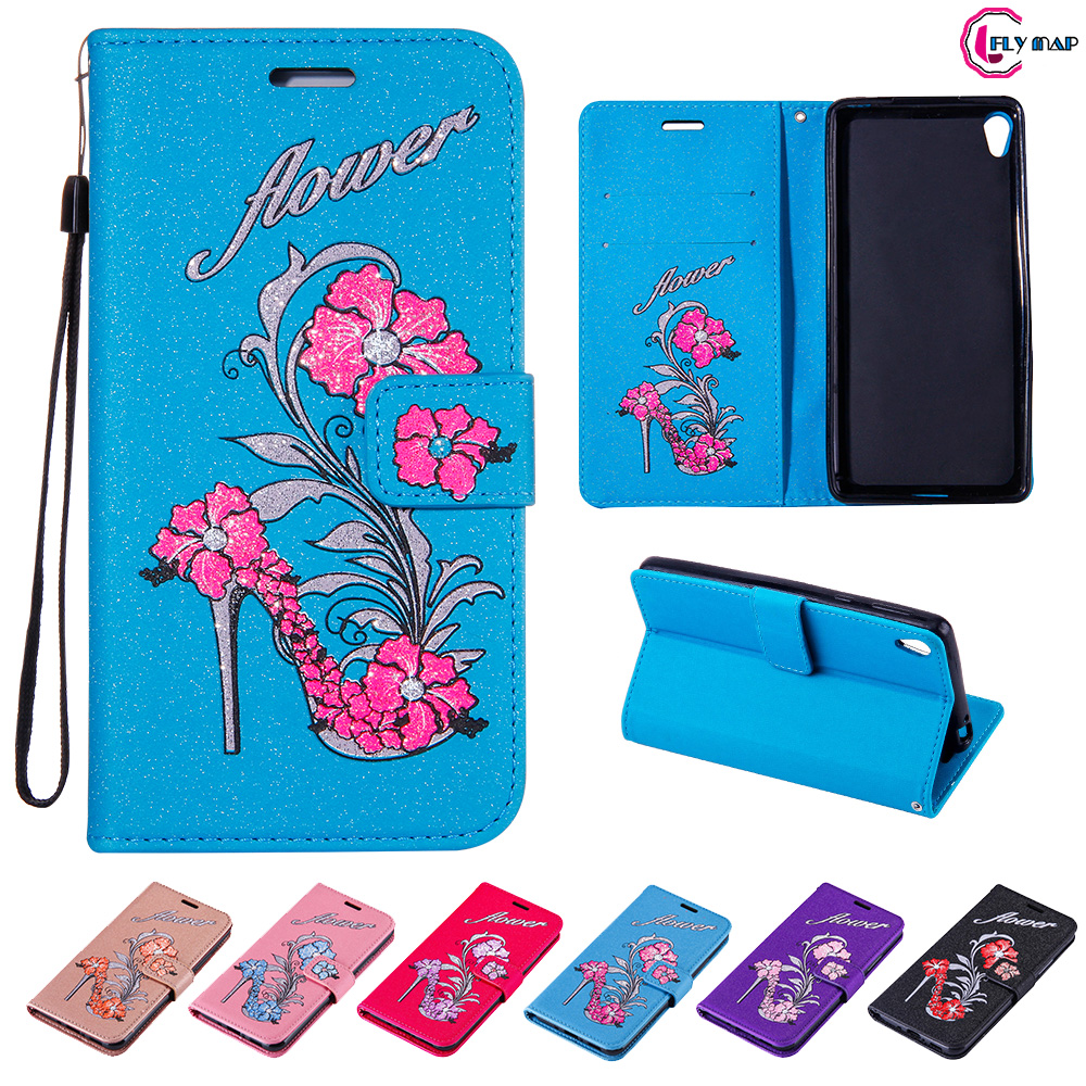 Glitter Flip Case for Sony Xperia E5 E 5 LTE F3311 F3313 Floral High heels Leather Cover Phone Case for Sony E5 F 3311 3313 Capa