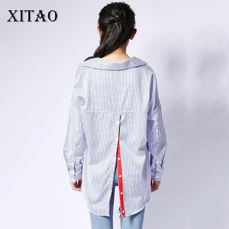 [Xitao] كوريا الأزياء 2017 الصيف الإناث طويلة الأكمام رفض طوق الشريط الأحمر مخطط عودة سترة صوفية البلوزات YZY001