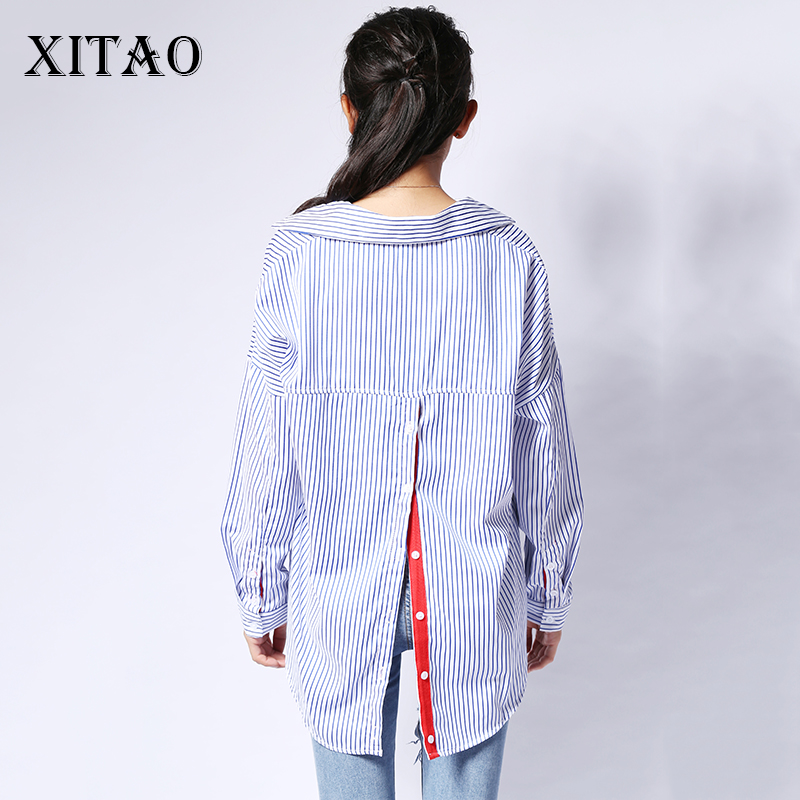 [XITAO] Korea fashion 2017 summer female long sleeve turn down collar red ribbon striped back cardigan pullover blouses YZY001
