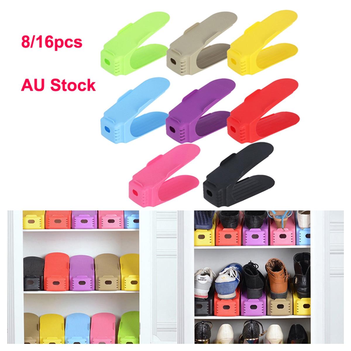 Nice 8pcs Durable Plastic Shoe Organizer Detached Double-wide Shoe Storage Rack Modern Cleaning Storage Shoes Rack Clothing & Wardrobe Storage