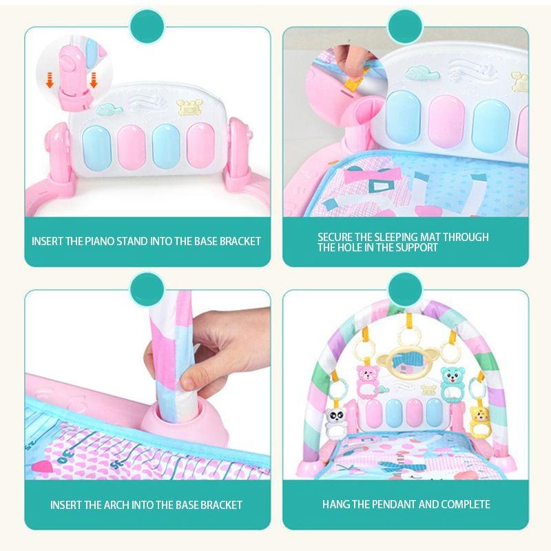 Enfants bébé coup de pied jouer nouveau-né jouet avec Piano pour nouveau-né bébé début activité d'éducation bande dessinée jouer tapis Gym musique tapis couvertures - 2