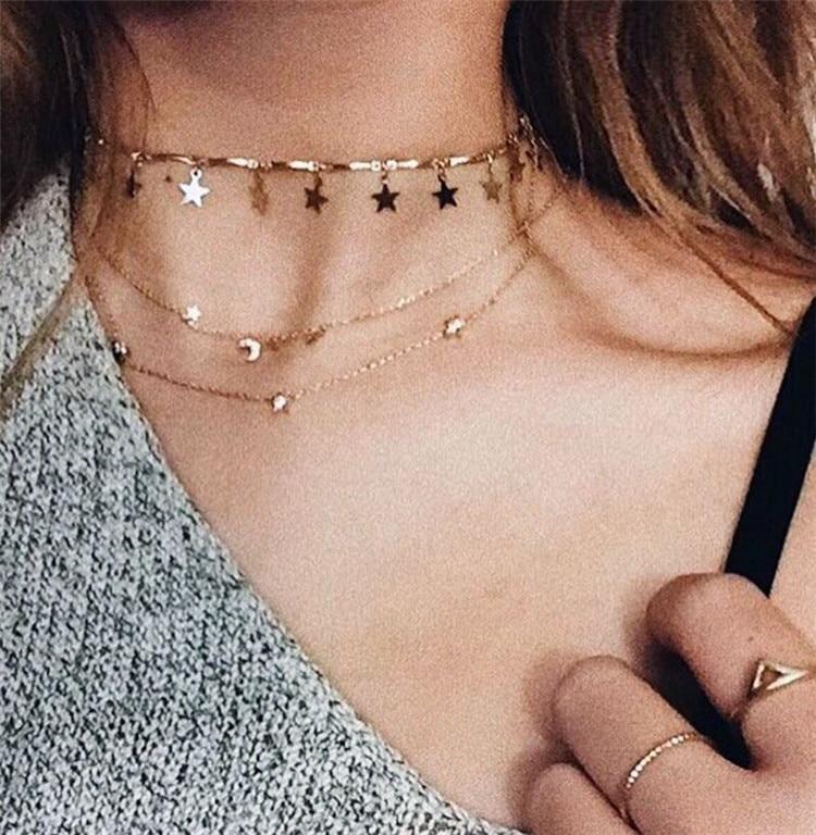 2017 Europa Stil Tmperament Aussage Halskette Metall Fünfzackigen Sterne Arc Kette Choker Halskette Für Frauen Collares
