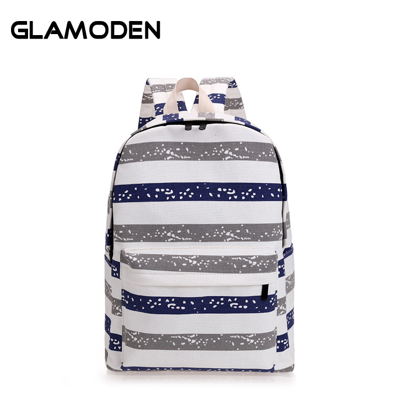 New Summer Women Backpack Teenagers School Bag Stripe Canvas Backpack Female Backpack Casual Travel Bag High School Young Girl