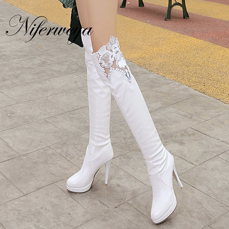 2016 Fashion winter women shoes big size 34-43 sexy thigh high platform high heel botas lace Over-the-Knee boots AU703-2 2016 brand new winter sexy women thigh high fur boots black gray lady over the knee shoes chunky heel etc02 plus big size 10 43