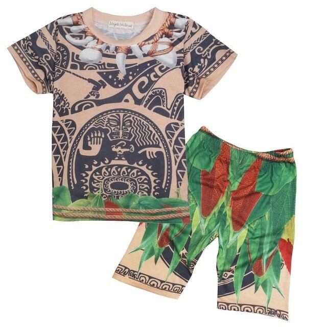 7a89a7c3a3207 Été Vêtements Pour Enfants Ensemble Bébé Moana Maui cosplay T-shirts Sport  Costume pour Enfants