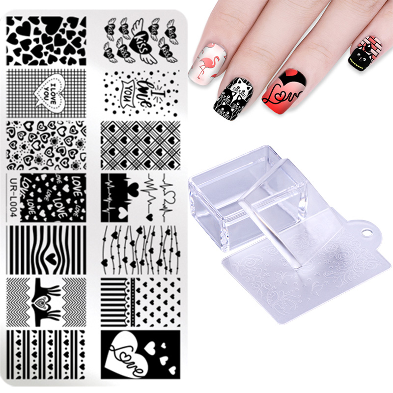 UR SUGAR 3Pcs/set Nail Stamping Plate With Scraper Flower Geometry Valentines Day Template Nail Art Stamping Kits DIY ...