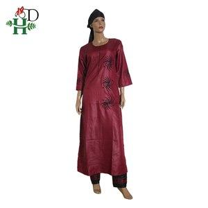 Image 2 - 3 pièces ensemble 2020 mode africaine vêtements pour femmes robes pantalon écharpe ensemble bazin riche robe broderie africaine vêtements S2946