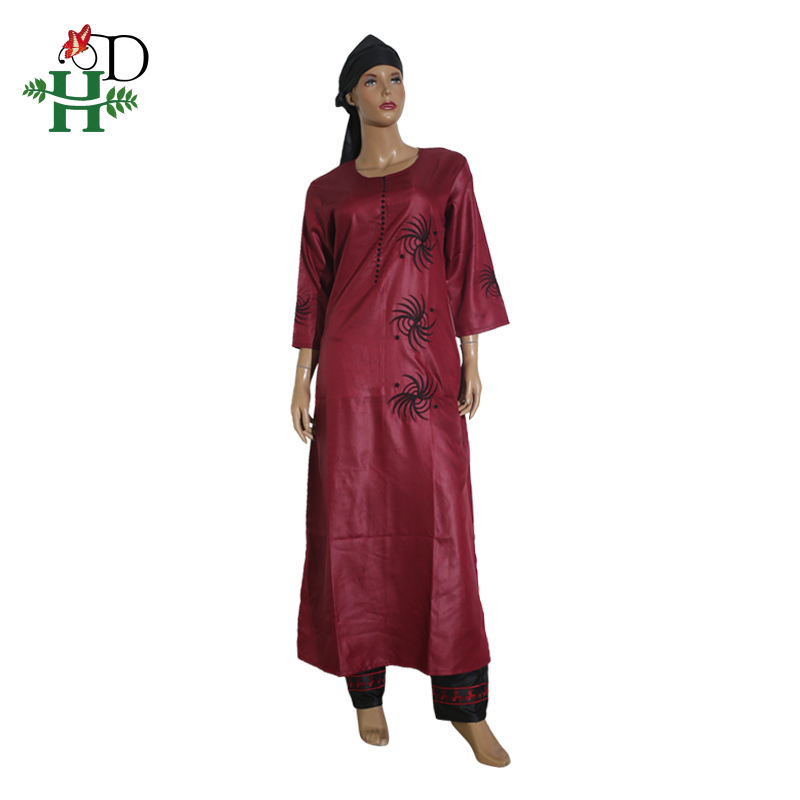 Image 2 - 3 pieces set 2019 fashion african clothing for women dresses pant scarf set bazin riche robe embroidery african clothes S2946Africa Clothing   -