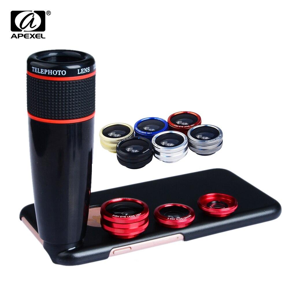 Цена за 4 в 1 Kit Объектив камеры 12X Телеобъектив Широкоугольный & Макро Рыбий глаз для iPhone 6 Plus 6 s Samsung Note4 5 S6 S6 edge плюс