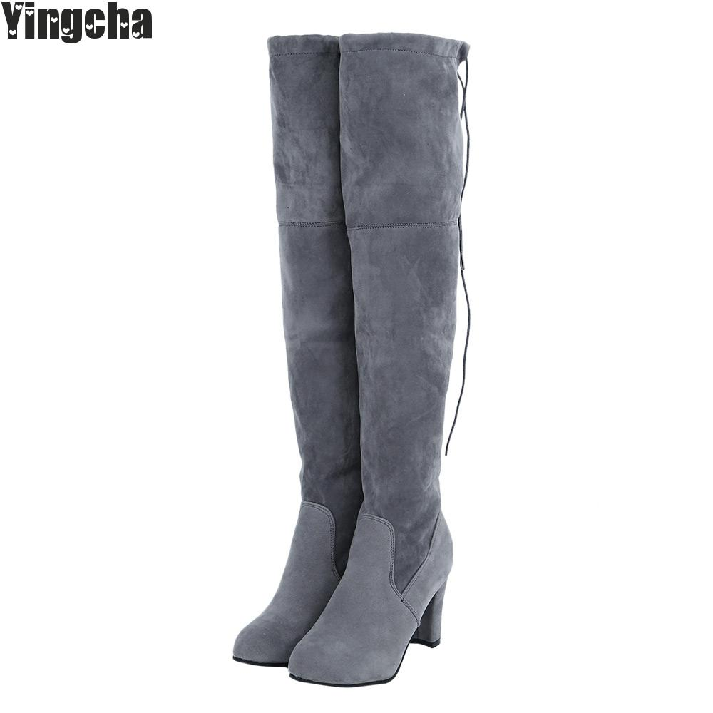 2018 Black Gray Womens Suede Thigh High Boots Block Thick Heel Stretch Over The Knee Boots For Woman Plus Size-In Over-The-Knee Boots From Shoes -5033