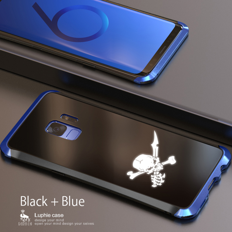 LUPHIE NFC LED Flash Case For Samsung S9 Plus Metal Bumper Tempered Glass Back Cover(22)