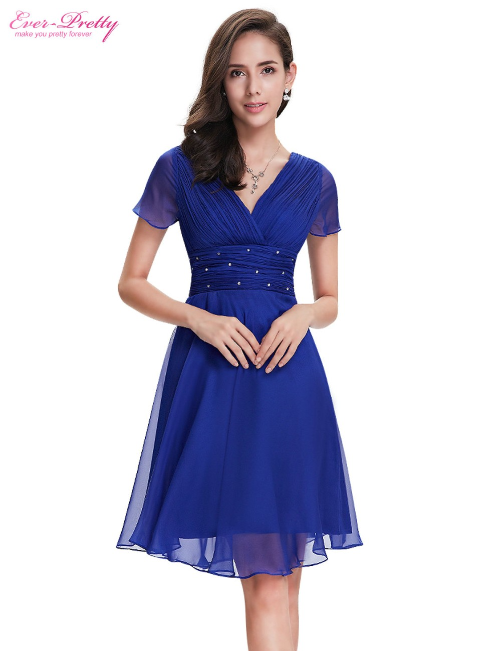 Short Sleeve V Neck Ruched Bust Chiffon Party Dress 10