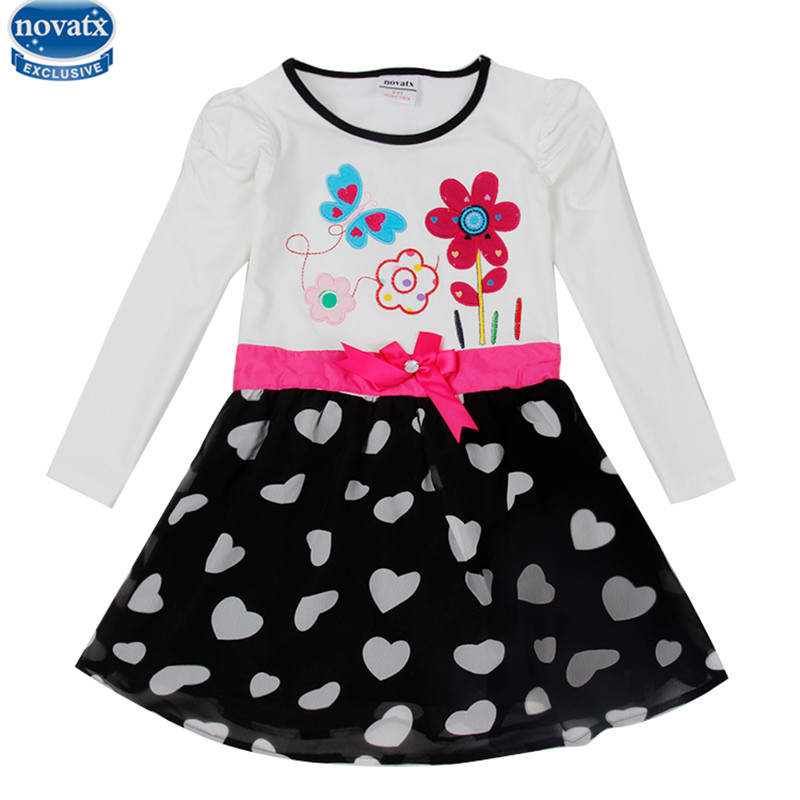 novatx  H5749 2017 new dress designs embroidered cotton autumn girls dress casual long sleeve dresses with lovely flower hayden girls boho ethnic dress designs teenage girls national embroidered dresses flare sleeve loose fit dress for 7 to 14 years
