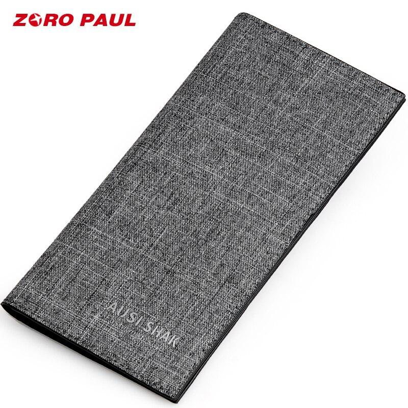 ZORO PAUL Luxury Brand Wallet Male Canvas Long Men Wallets With 13 Card Holders Money Clutch Bag Boys Man Wallet Slim сумка zoro paul zr1901 3