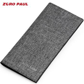 ZORO PAUL Luxury Brand Wallet Male Canvas Long Men Wallets With 13 Card Holders Money Clutch Bag Boys Man Wallet Slim