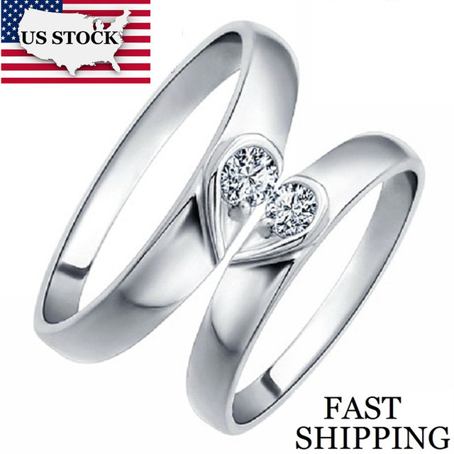 USA STOCK Heart Silver Color Couple Commitment Ring Wedding Rings for Men and Women Costume Jewelry Rings Marriage Uloveido J207