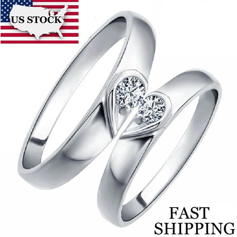 476 25 De Réductionusa Stock Coeur Couleur Argent Couple Engagement Bague Anneaux De Mariage Pour Hommes Et Femmes Costume Bijoux Anneaux Mariage