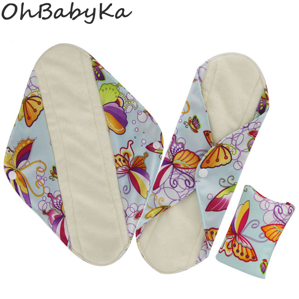 Ohbabyka Women Hygiene Sanitary Pad Health Products Washable Cloth Panty Liners Bamboo Fiber Cloth Menstrual Pad Dropshiping