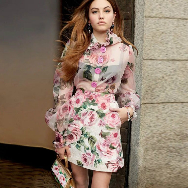 bebf7252e7 2018 Runway Designer Women Suits Luxury Printed Floral Sexy See Through  Blouse Lace Ruffle Collar Mini Slim Skirt Female Sets