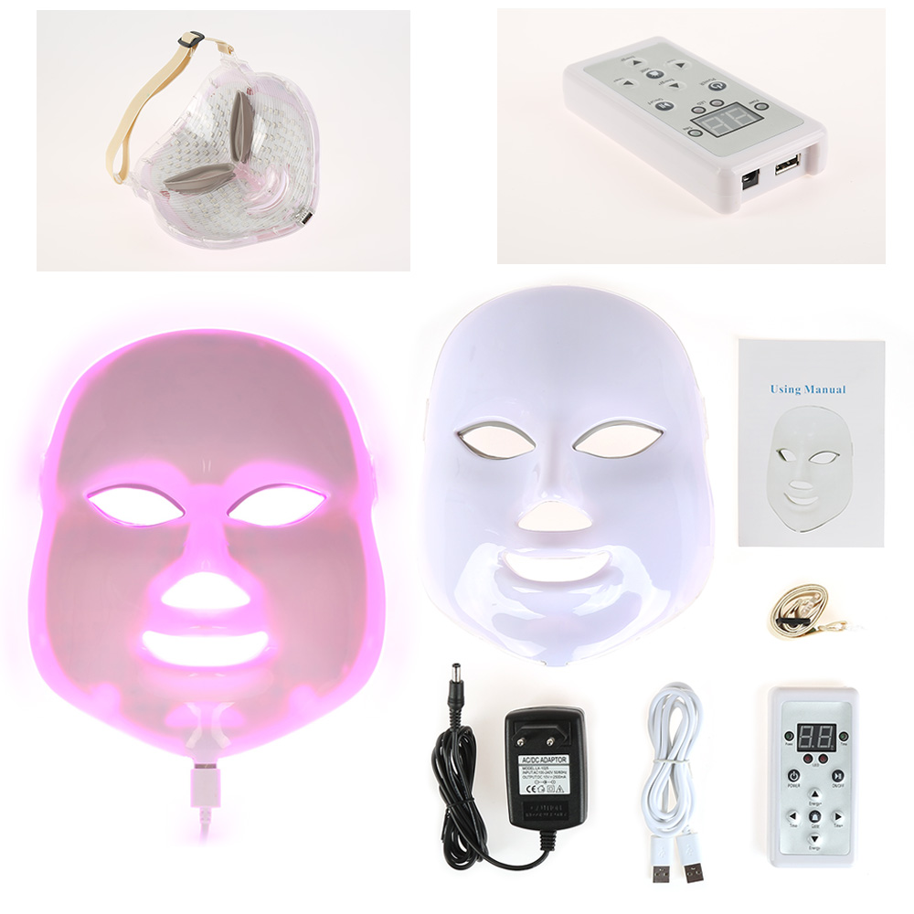 2017 Pro LED Photon Facial Mask Device Wrinkle Acne Removal Skin Rejuvenation Face Anti-Aging Therapy US EU Plug 3/7 Color Type 7 colors light photon electric led facial mask skin pdt skin rejuvenation anti acne wrinkle removal therapy beauty salon