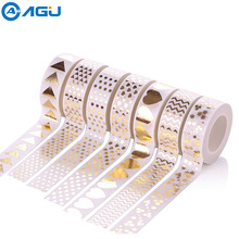 AAGU 1PC 15mm*10m Heart Triangle Foil Washi Tape DIY Making Various Patterns Masking Tape Office Stationery DIY  Decorative Tape