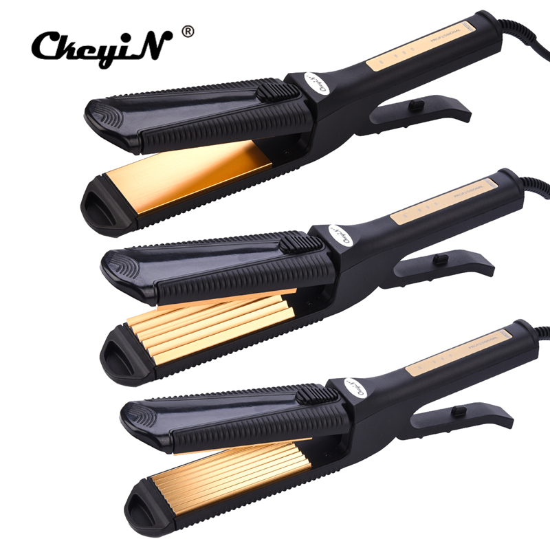 CkeyiN 3 in 1 Electric Hair Straightener Crimper Corrugated Curl Hair Plate Titanium Flat Iron Curling Corn Hair Wave Corrugated ckeyin 110 240v electric straightening iron ceramic corrugated hair crimper straightener corn plate fast straight hair flat iron