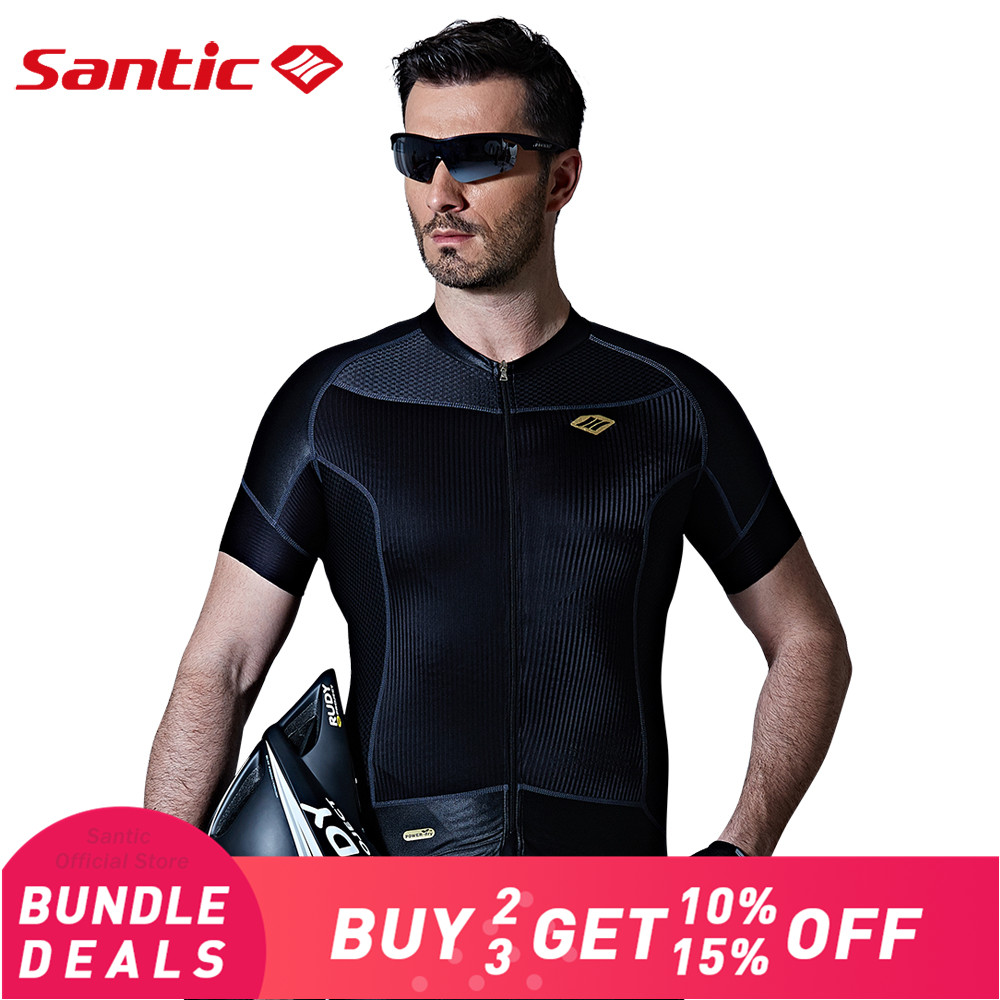 Santic Men Cycling Short Jersey Extreme Fit Water Diffusible Fabric Seamless Cuff Road Bike Short Sleeve