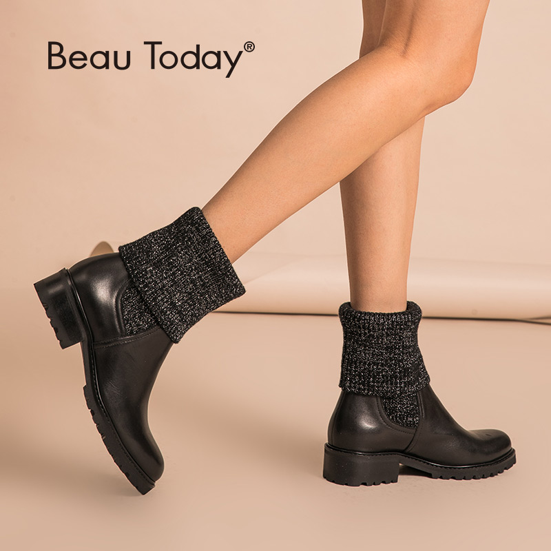BeauToday Chelsea Boots Women Soft Calfskin Genuine Leather Round Toe Cuffed Design Winter Ladies Shoes Handmade