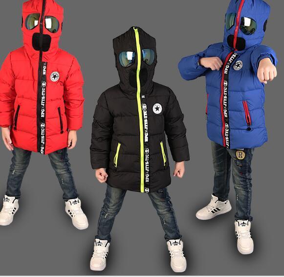 2016 Crianças Casacos de Inverno Meninos Casacos de Inverno das Crianças Das Meninas Dos Meninos Com Capuz Quente Grossa jaqueta Com Óculos Casacos Para Adolescentes roupas