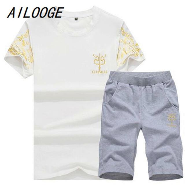 AILOOGE Sportsuit and Tee Shirt Set Mens T Shirt Shorts + Short Pants Men Summer Tracksuit Men Casual Brand Tee Shirts 2018