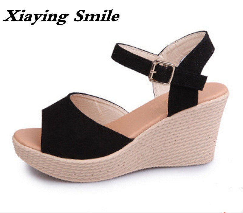 Xiaying Smile Summer Woman Sandals Shoes Platform Women Pumps Buckle Strap Wedges Heels Fashion Casual Flock Rubber Women Shoes xiaying smile summer new woman sandals platform wedges women pumps high heel buckle strap fashion flock lady rubber women shoes