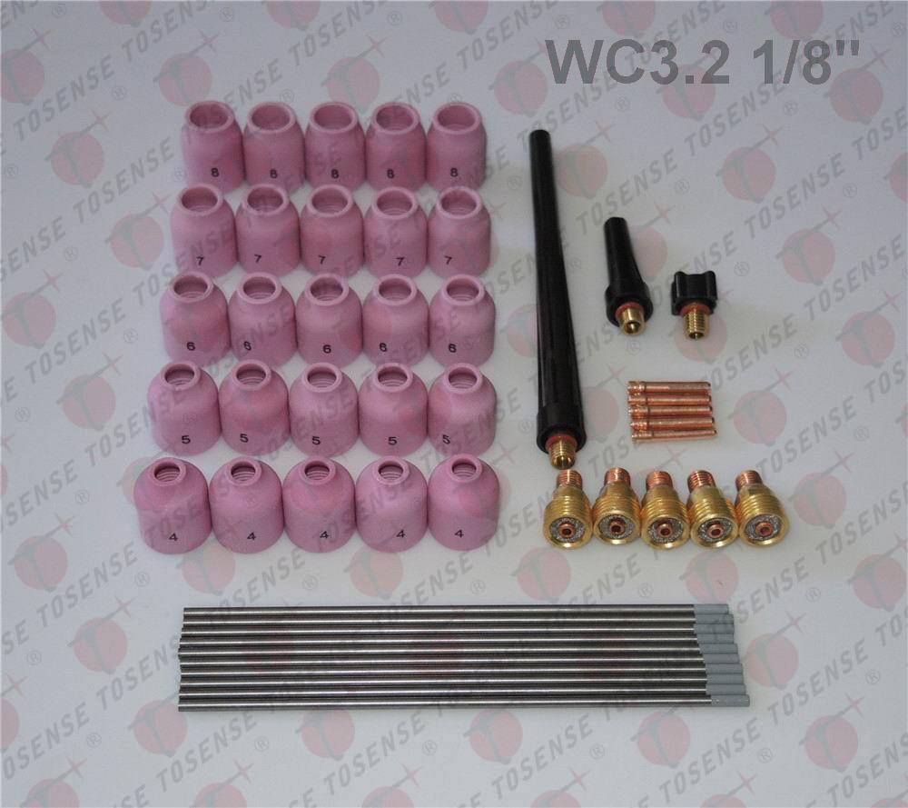 48 pcs TIG Welding Kit Gas Lens for Tig Welding Torch WP-9 WP-20 WP-25 WC 1/8 wp 9 sr 9 tig welding torch complete air cooled 125amp 26feet 8meter soldering iron
