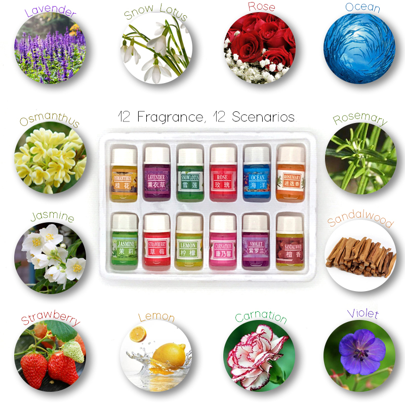 12 bottles 3ML SPA plant essential oils with aromatic aromatherapy oil household daily supplies cured flavor Home Air care david rowe chemistry and technology of flavours and fragrances