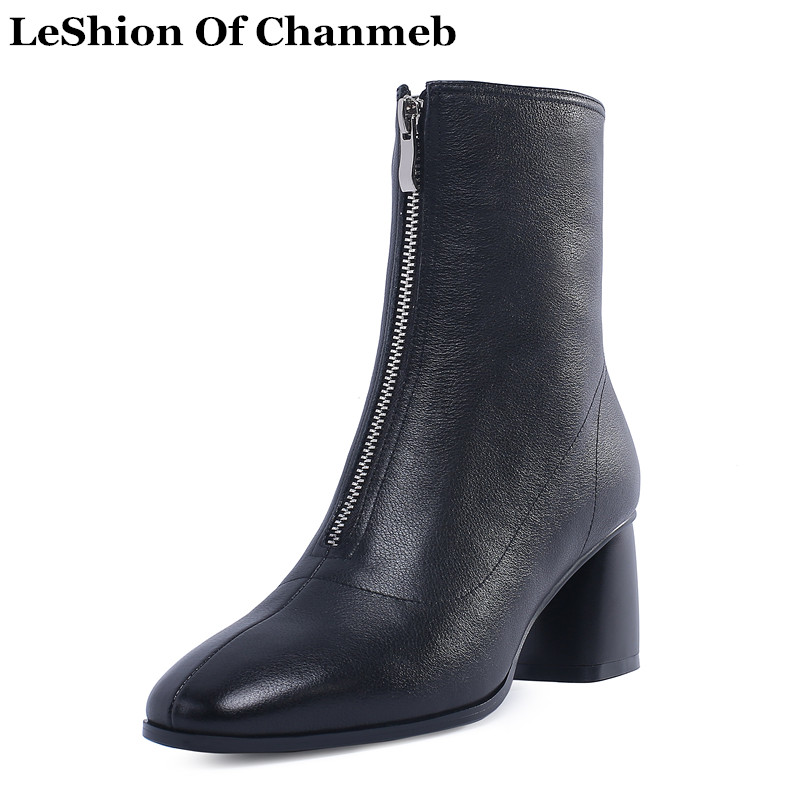 2019 miękka skóra buty motocyklowe z przodu na zamek błyskawiczny czarny biały jesień zima buty sukienka kobiety plus rozmiar kostki buty lady skórzane kozaki na obcasie w Buty do kostki od Buty na  Grupa 1