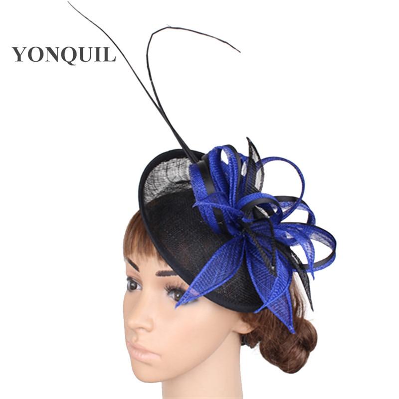 Elegant Ladies Party Fascinators Fedora Hats Royal Blue Race Chapeau Headbands Events Hair Accessories Cocktail Headwear SYF267