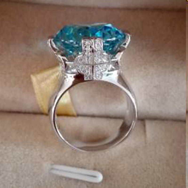 Qi Xuan_Blue pierre luxe Rings_Finger Rings_S925 solide argent mode bleu pierre ring_fabricant directement ventes - 2