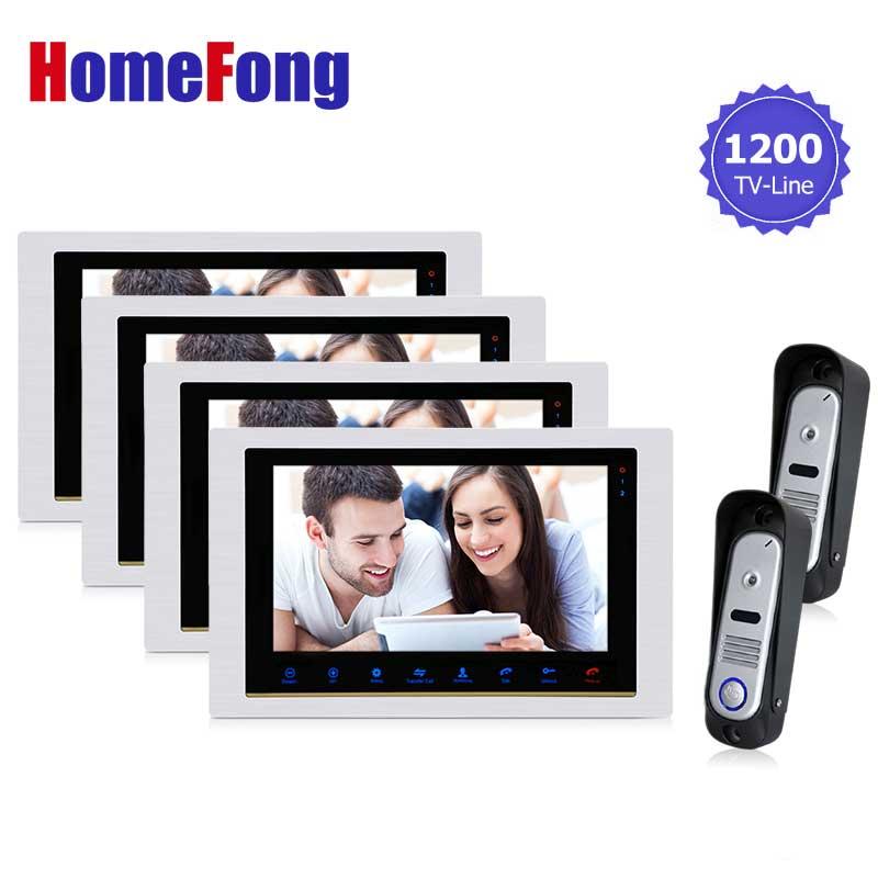 Homefong 10inch home Intercom Video Door Phone system front door high resolution Inter-conversation Doorbell 1200TVL