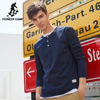 Pioneer Camp New Arrival Autumn Button T Shirt Men Brand Clothing Solid Long Sleeve Casual T