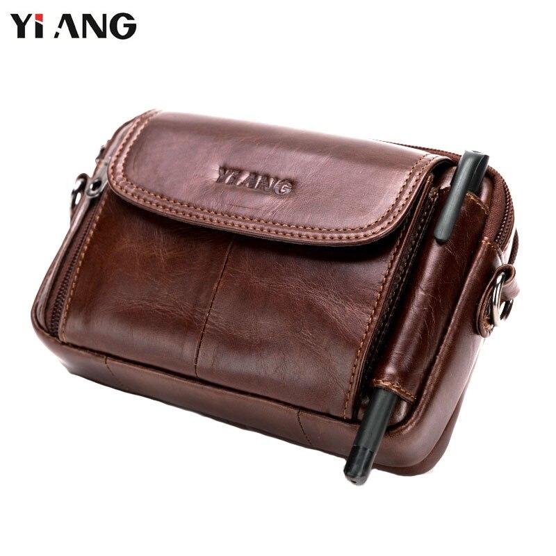 YIANG grande taille mode hommes en cuir véritable sacs à bandoulière sac banane décontracté Fanny Molle téléphone poche porte-stylo épaule unique