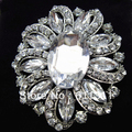 No Minimum Limitation!! 1 Piece Retail!!Vintage Silver Tone Large Oval Rhinestone Crystal Costume Big Brooch Women Party Corsage