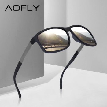 AOFLY BRAND DESIGN Classic Mens Square Sunglasses Polarized UV400 Sunglasses TR90 Frame Driving Goggles Male AF8087
