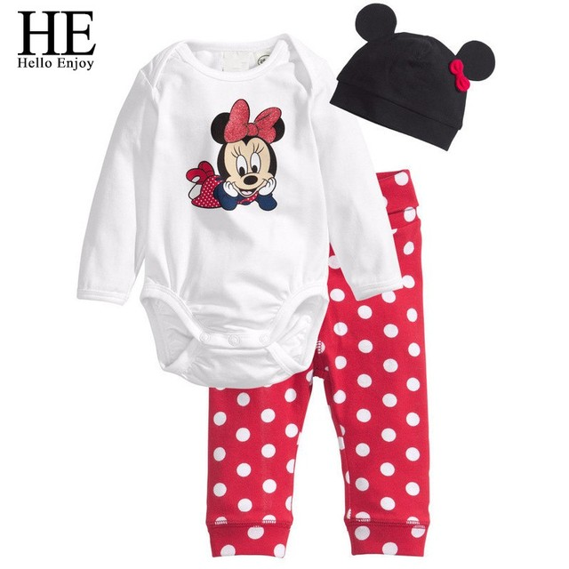 HE Hello Enjoy Baby rompers long sleeve cotton baby infant autumn Animal newborn baby clothes romper+hat+pants 3pcs clothing set 3
