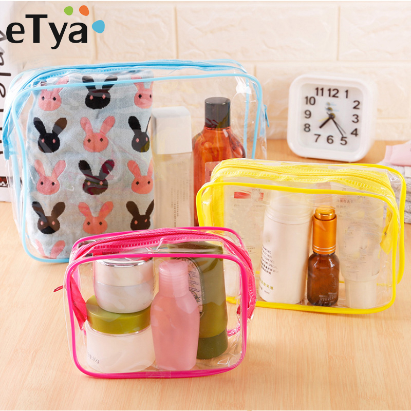 ETya Travel Organizer Clear Makeup Bag Transparent Cosmetic Bag PVC Waterproof Beauty Case Toiletry Bag Make Up Pouch Wash Bags