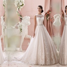 vestido de noiva de renda 2016 new wedding dresses gowns elegant scoop neck sexy see through back romantic lace robe de mariage