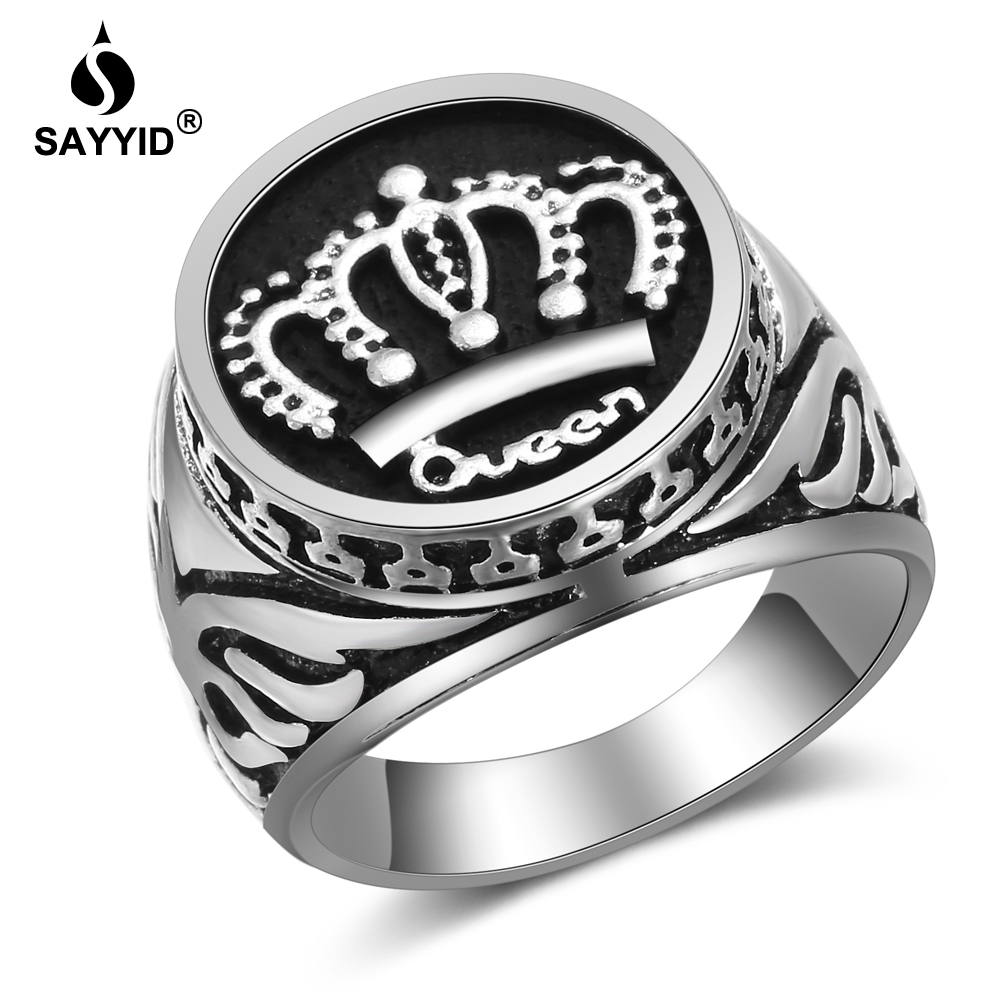 SAYYID New Design Statement Jewelry Crown Ring for Men 39 s Fashion Retro Plating Ancient Silver Ring in Rings from Jewelry amp Accessories