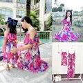 2016 Mãe Filha Roupas Mãe E Filha se Veste Estilo Venda Combinando Novas Meninas Vestido Floral Saia de verão roupa pai-filho