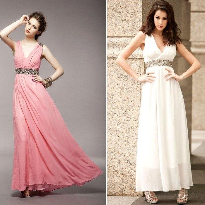 Ladies Sexy Beading Dress Women V-neck chiffon Dress Full Dress Formal Dress one-piece Long Dess