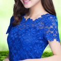5XL Plus Size Women Summer New Lace Crochet Shirt Tops Short Sleeve O-Neck Lace Blouse Shirts Summer Sexy Floral Casual Top